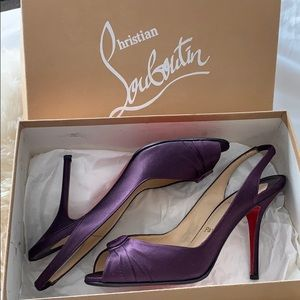 Christian Louboutin Purple Satin Fiorellino heels